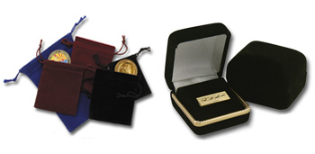 Specialized Packaging for Harburn's lapel pins, coins, medallions, and other products.