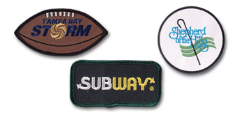 "Custom Embroidered Patches from 2"" - 5 1/2"" in size."